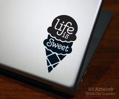 Life is Sweet Decal (Ice Cream Cone) in Black (shown on laptop)