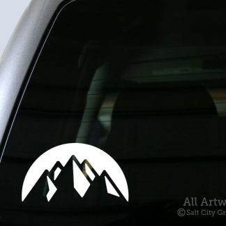 Mountain Peaks Decal in White (shown on truck window)