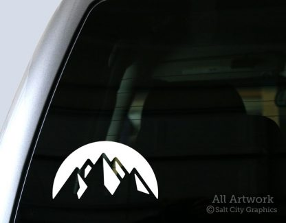 Mountain Peaks Decal in White (shown on truck window)