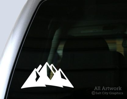 Mountains Decal (Mountain Range) in White (shown on truck window)