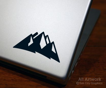 Mountains Decal (Mountain Range) in Black (shown on laptop)
