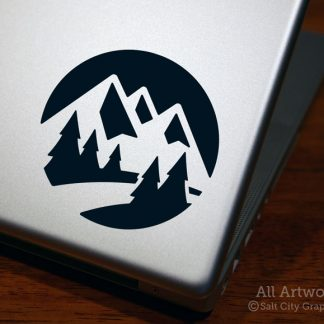 Mountain Range with Nature Scene Decal in Black (shown on laptop)