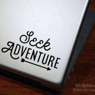 Seek Adventure Decal (with Arrow) in Black (shown on laptop)