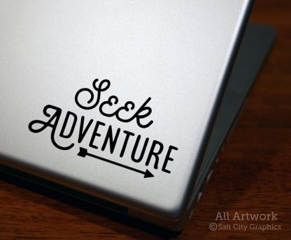 Seek Adventure Decal (with Arrow) in Black (shown on laptop)