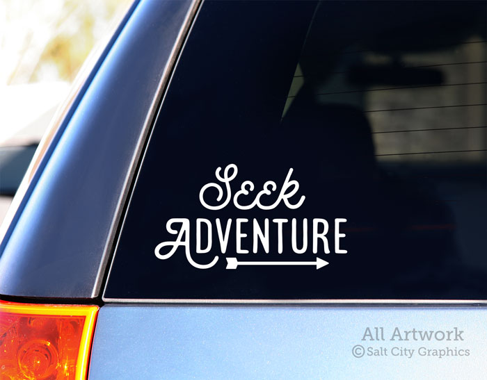 Bumper Sticker Car Decal Explorer Sayings 5 inches Wide, White with Mountains - Outdoor Recreation Salt City Graphics Adventure Awaits Decal