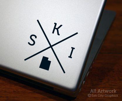 SKI Utah Decal (X) in Black (shown on laptop)
