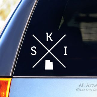 SKI Utah Decal (X) in White (shown on SUV window)