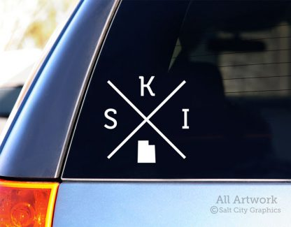 SKI Utah Decal (X) in White (shown on SUV window)