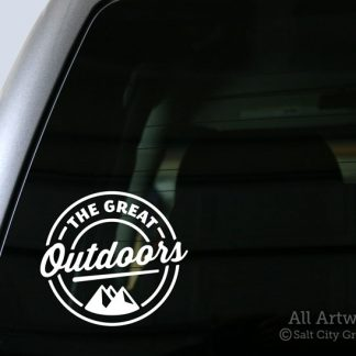 The Great Outdoors Decal (with Mountains) in White (shown on truck window)