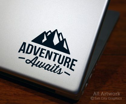 Adventure Awaits with Mountains Decal in Black (shown on laptop)