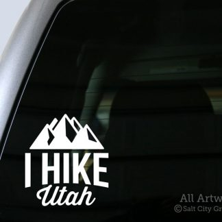I Hike Utah Decal (with Mountains) in White (shown on truck window)