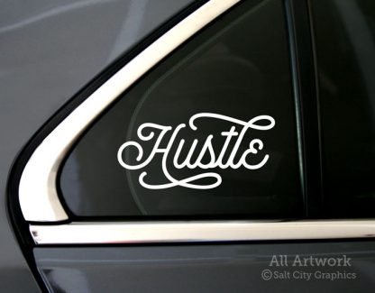 Hustle Decal in White (shown on car window)