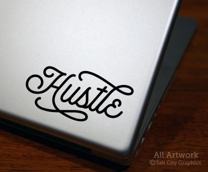 Hustle Decal in Black (shown on laptop)