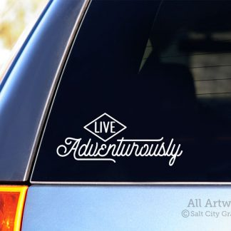 Live Adventurously Decal (Typographic/Script) in White (shown on SUV window)