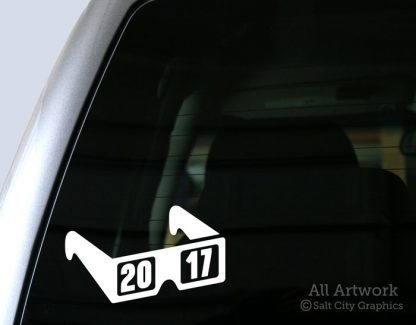 Total Solar Eclipse 2017 Decal (Eclipse Glasses) in White (shown on truck window)