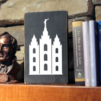 Salt Lake Temple Decal (LDS/Mormon temple) in White (shown on painted craft block)