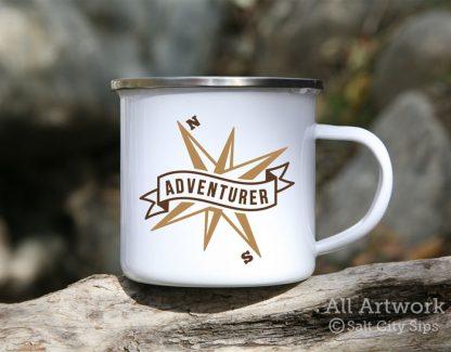 Adventurer Compass Enamel Camp Mug, with design in full color