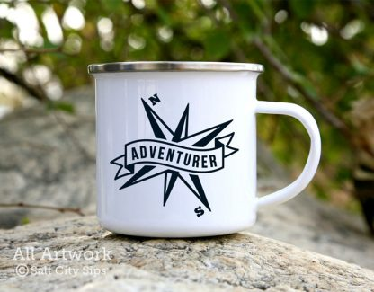 Adventurer Compass Enamel Camp Mug, with design in Black