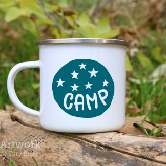 Camp Under the Stars Enamel Camp Mug, with design in Blue