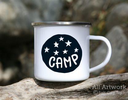Camp Under the Stars Enamel Camp Mug, with design in Black